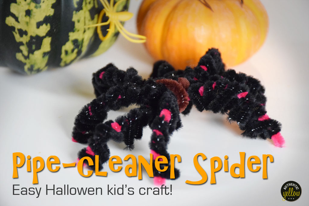 Pipe-cleaner spider - Easy Halloween kid's craft