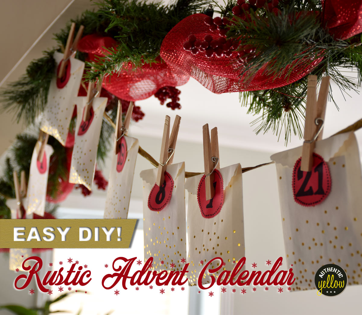 Easy DIY: Rustic Advent Calendar - Authentic Yellow