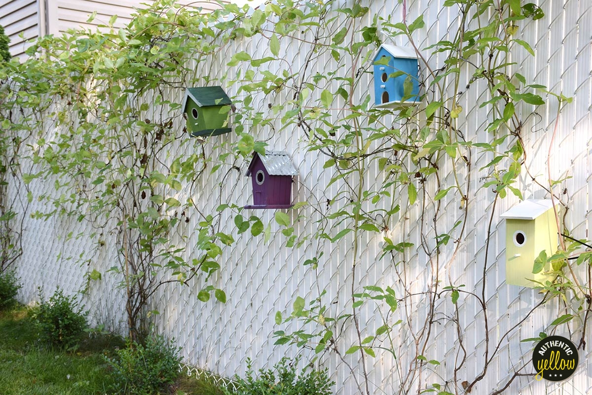 Colored Birdhouses, chain link mesh fence